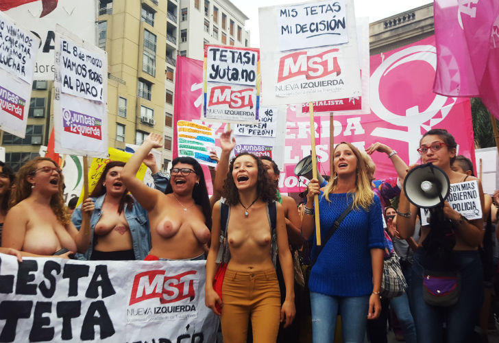 Disgusting feminists of the MST showing their drooping tits.