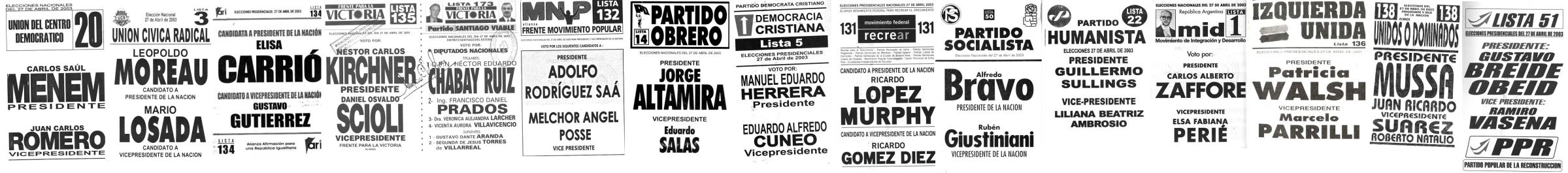 Boletas electorales de las elecciones del 2003.