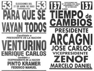 Dos boletas más de las elecciones del 2003.