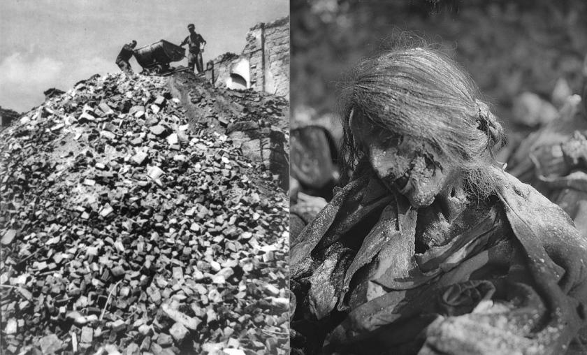 Consecuencias del bombardeo de Dresde. Cádaveres apilados y una mujer reducida a un mero esqueleto.