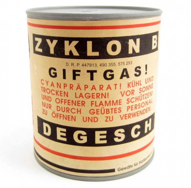 A can of Zyklon B, the insecticide used to kill lice in the camps. Not jews.