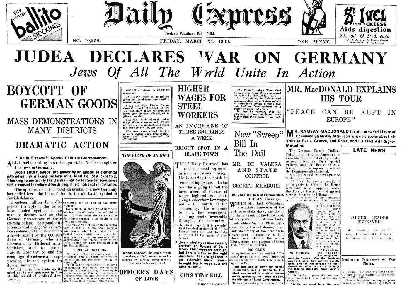 Judea declares war on Germany, on the Daily Express.