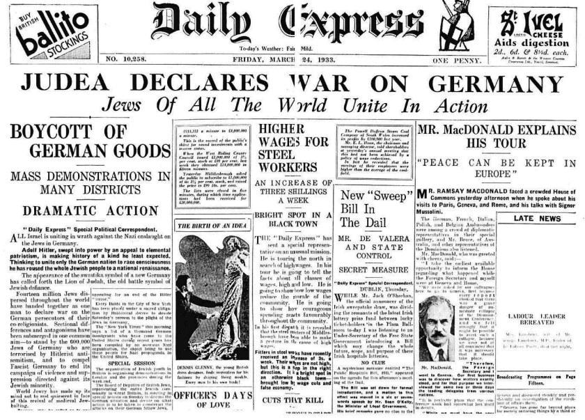 Judea declara la guerra a Alemania el 24 de marzo de 1933.