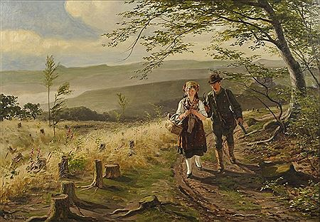 This painting is called Landschaft im Thüringer Wald: Jäger und junge Frau in Tracht im Gespräch einen Höhenweg entlanglaufend. It was painted by the same artist who did the above painting. His name was Wilhelm Carl August Zimmer.