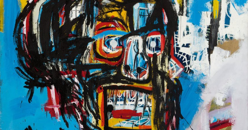 A terrible piece of art by Basquiat, that for some reason people like to pretend that it's actually good.