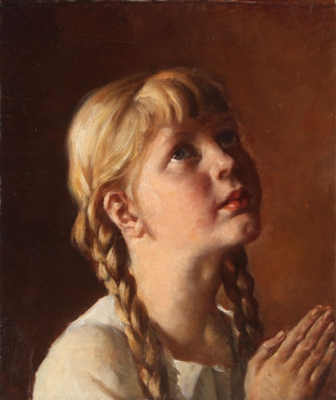 Girl in Prayer. By Adolf Wissel.