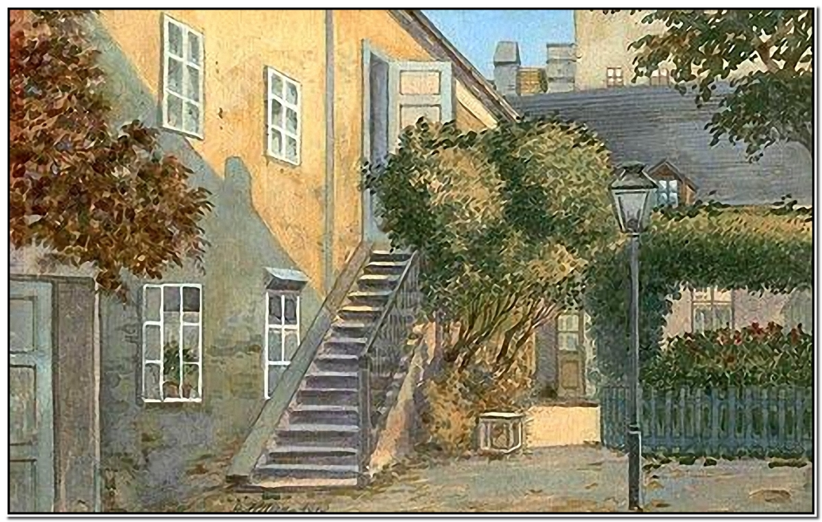 Adolf Hitler's sketch of a house, complete with stairs at the entrance and a tree.