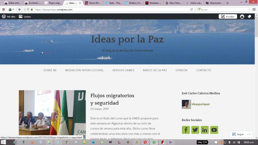 Captura de pantalla del blog Ideas por la paz. Nombre que suena muy bonito, pero es muy hipócrita.