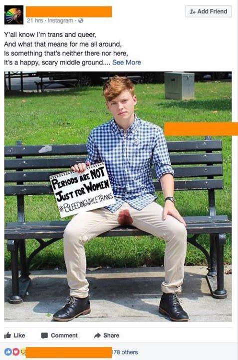Transsexual loco que dice que menstrua.