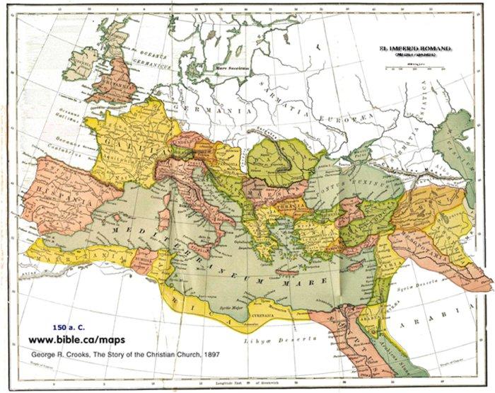 Mapa del Imperio Romano en el 150 a. C.
