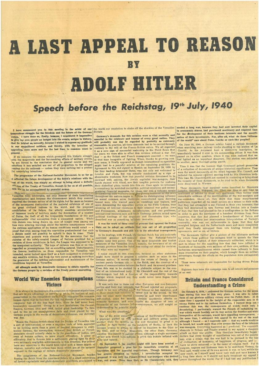 Hitler's appeal to reason, to the British people.