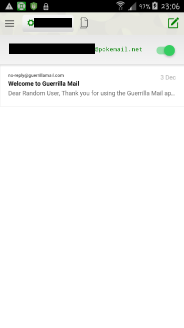 The inbox of the Guerrilla Mail's Android app